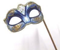 Blue and Gold Mask on Stick